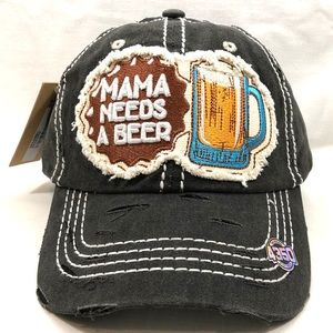 MANA NEEDS A BEER Vintage Baseball Cap Black Hat